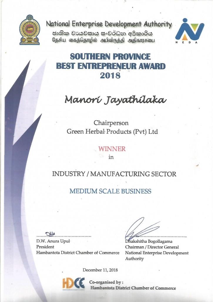 Best Entrepreneur 2018 Certificate-1